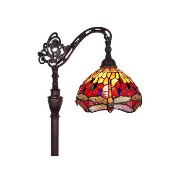 Amora Lighting Home Decorative AM079FL10 Tiffany Style Dragonfly Reading Floor Lamp 62
