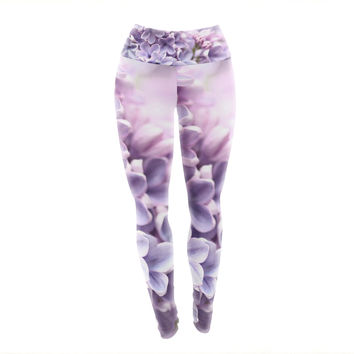 "Sylvia Cook ""Lilac"" Purple Flowers Yoga Leggings"