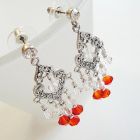 Orange Crystal Silver Dangle Ear Stud Chandelier Earrings, Orange Australian Swarovski  Earrings, Gift under 25