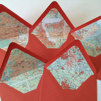 Tangy Orange City Maps Lined Envelopes // Set of 5 // Size A7 Envelopes