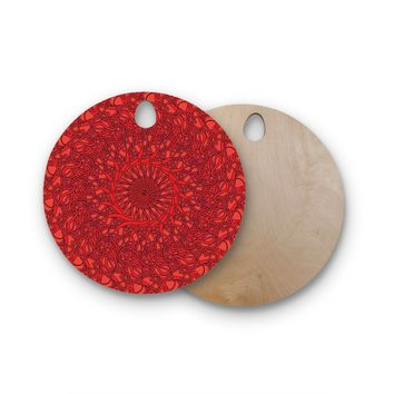 "Patternmuse ""Mandala Spin Romance"" Red Geometric Round Wooden Cutting Board"