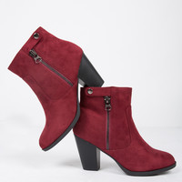 Zipped Up Suede Ankle Boots - 5.5