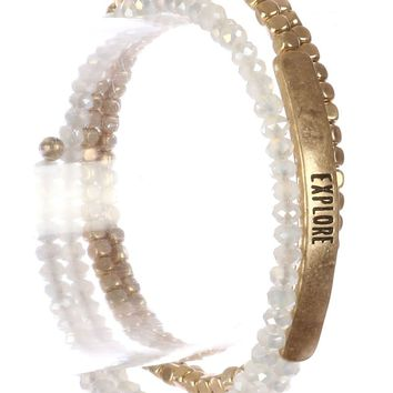 White Glass Metallic Bead Coil Wire Message Bracelet