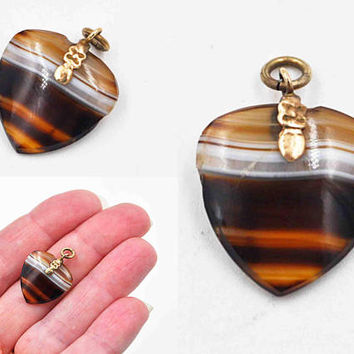 Antique Victorian Gold Filled Banded Agate Watch Fob, Heart Shaped, Quatrefoil, Pendant, Charm, Gold on Sterling, Lovely! #c110