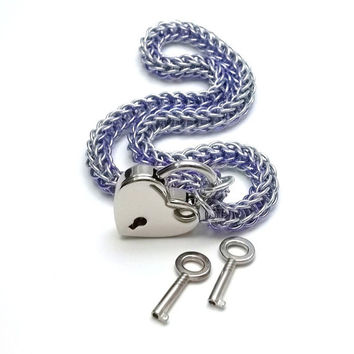 Slave Collar with Heart Lock Lavender and Silver Persian Chainmail Choker