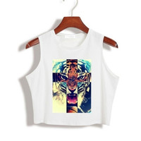 Aurora Star Cross Tigers Women Summer Crop Top Short tshirt 2015 Sexy Slim Funny Top Tee Hipster Latest (Color: White) = 1956658052