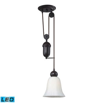 Elk Lighting 65090-1-LED Farmhouse Oiled Bronze Pulley Adjustable Height LED One Light Mini Pendant