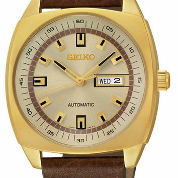 Seiko Mens Automatic Recraft Series - Gold-Tone - Brown Leather Strap - Day/Date