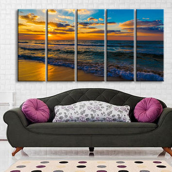 Large Wall Art Canvas Sunset and Beach Framed Large Size Canvas Print for Home Decoration, Great Gift, Sea Wall Decor