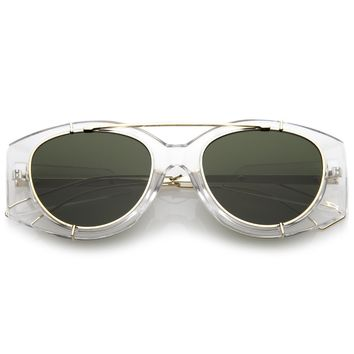 Retro Modern Translucent Round Aviator Sunglasses C328