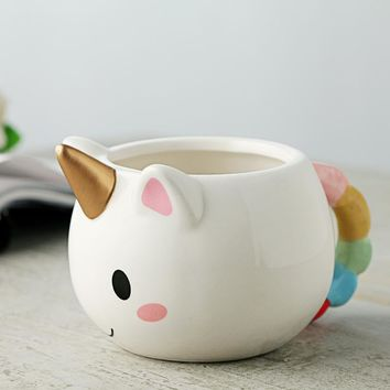 Lekoch Cartoon Unicorn Mug 3D Ceramic Coffee Cup Children Girl Creative Cute Gift Wild Finding Magical Horse Cups Christmas