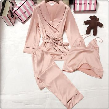 Victoria's Secret Women Silk Satin Vest Tank Top Robe Sleepwear Loungewear Set Three-Piece