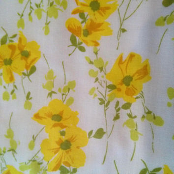 Vintage Yellow Floral Double Flat Sheet Yellow Roses Yellow Flowers White Yellow Green Sheet Cotton Polyester Blend Percale Morgan Jones
