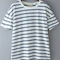 Navy Blue and White Short Sleeve Striped T-Shirt