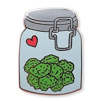 Nug Jar Enamel Pin with Silver Detailing