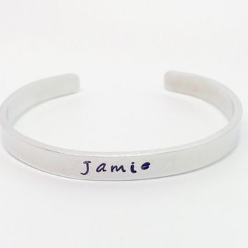 Hand stamped personalised cuff name bracelet