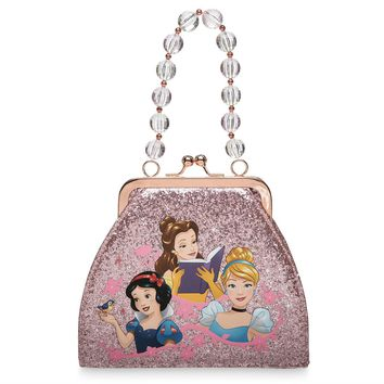Disney Parks Princess Small Pink Glitter Infused Vinyl Shell Bag New with Tag