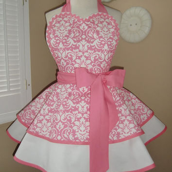Pink Damask Print Womans Retro Apron With Tiered Skirt And Bib, Featuring Heart Shaped Bib...Ready To Ship