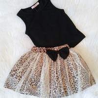 Little Girls Leopard Skirt Set