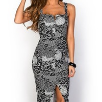 Irina Black and White Fitted Knee Length Lace Print Dress