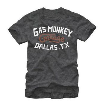 Gas Monkey Garage Monkey Text Logo Licensed Adult T-Shirt - Grey
