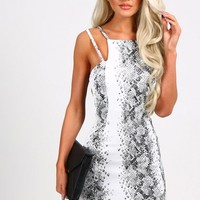 Blaine Black And White Snake Print Mini Dress