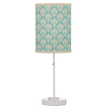 Teal Shabby Damask Table Lamps