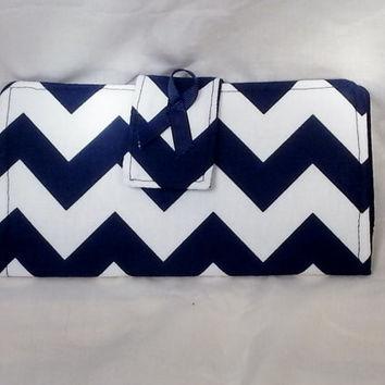 Organizer Wallet Clutch Bifold Navy and white Chevron Leukodystrophy Awareness Ready to ship