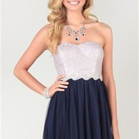 short strapless dress with stone appliqué waist and lace bodice