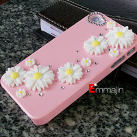 white chrysanthemum cyrstal  iphone 4 case,Pink  Bling Crystal iPhone 4 covers ,iphone 4S  handmade