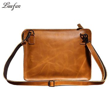 Vintage genuine leather Messenger bag Cowhide iPad Bag Envelope leather shoulder bag Men leather Day Clutch Bag