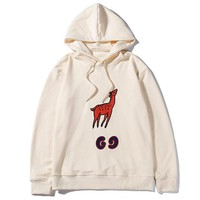 GUCCI 2019 new embroidered deer patch wild hooded sweater