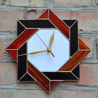 Wall Clock Stained Glass Celtic in red, black and white colors - Unique Modern Art Glass with Celtic Geometric Design - Clock gift idea