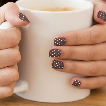 Chocolate Brown Polka Dot Minx Minx® Nail Wraps