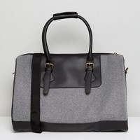 ASOS Carryall In Gray Melton With Faux Leather Trims at asos.com