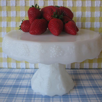 Vintage Cake Stand Milk Glass Footed Pedestal Server 1950's
