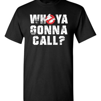 2017 Fashion funny casual Man Tops tees Tees Who Ya Gonna Call? Ghostbusters Men's T-Shirt Novelty Tee Free Shipping