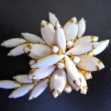 JULIANA D&E Milk Glass Chalk White Brooch, Navettes-Marquis, Verified and Vintage