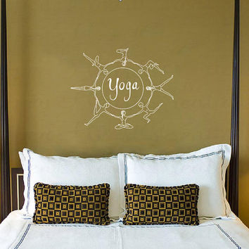 Housewares Wall Vinyl Decal Sticker Yoga Sign Poses Art Interior Home Decor Room Mural V247
