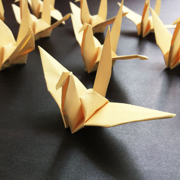Origami Paper Crane | Handmade LIGHT YELLOW Cranes | Handcrafted Party Wedding Thanksgiving Christmas Decoration Confetti Japan Washi Folded