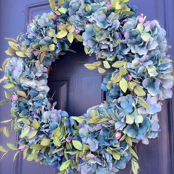 Hydrangea Wreath, Spring Hydrangea Wreaths, Blue Wreath, Easter Wreaths, Spring Wreaths, Indoor Wreaths , Wall Decor