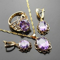 Jewelry Sets For Women Purple Crystal Gold Color Necklace/Earrings/Ring For Party Wedding Anniversary