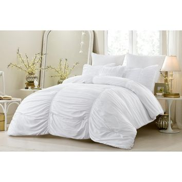 4 PC RUCHED ALL SEASON SUPER SOFT OVERSIZED COMFORTER SET - WHITE - STYLE 1053
