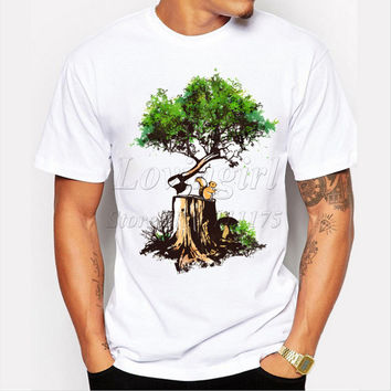 Latest 2017 men's fashion creative reforest design t-shirt funny tee shirts Hipster O-neck popular tops