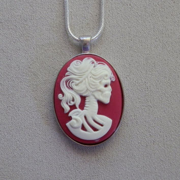 Necklace, Skeleton Bride Resin Pendant, Deep Pink, with Sterling Silver Snake Chain
