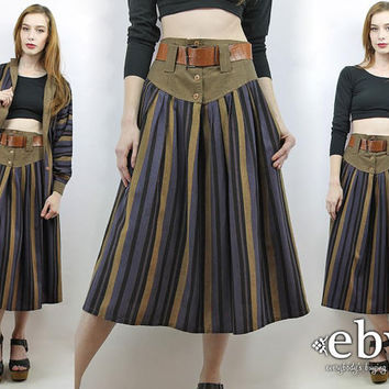 Matching Set Two Piece Set Two Piece Outfit Separates High Waisted Skirt Vintage 90s Striped Blouse + Midi Skirt Outfit S M