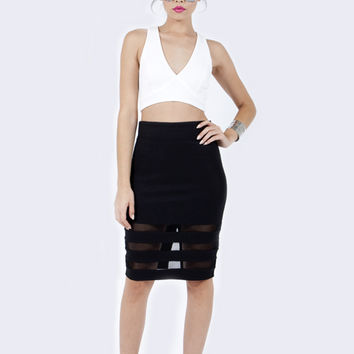 Luxe Knitted Midi Skirt and CrissCross Crop Top
