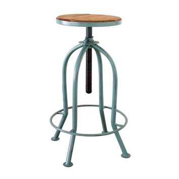 Industrial Adjustable Bar Stool with Recycled Wood ~ Blue Finish