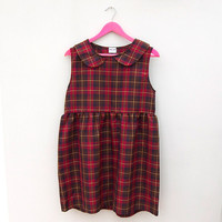 Loose Red Tartan Smock Dress with Peter Pan Collar by Mod Dolly