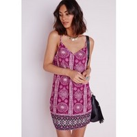 Silky Strappy Cami Dress Pink Scarf Print - Dresses - Cami Dresses - Missguided